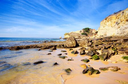 panoramic landscape with sea waves and rocks(Atlantic ocean, Portugal) photo