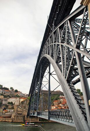 oporto: famous Dom Louis brige from Eiffel in Porto(river Douro,Portugal) Stock Photo