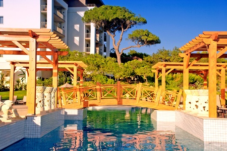 Summer landscape in hotel with swimming pool , wood foot-bridge and pine trees. Aftenoon light.