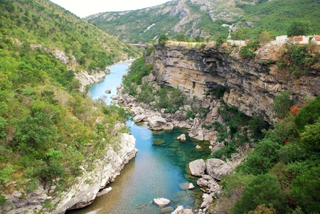 hill of tara: Scenic deep canyon with blue Tara river in Montenegro mountains