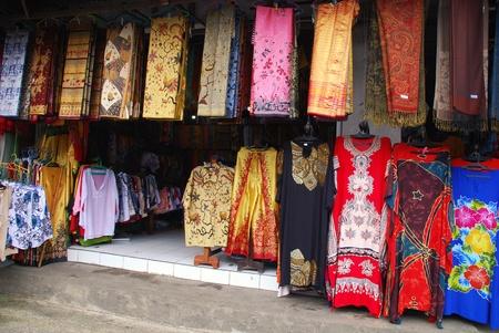 sarong: Colourful batik textiles at Indonesian street market(Bali)