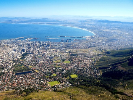 capetown: aerial view of Capetown and Table Bay(South Africa)
