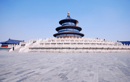 Panoramic view of main pagoda from Temple of Heaven(Beijing,China) on sky background photo