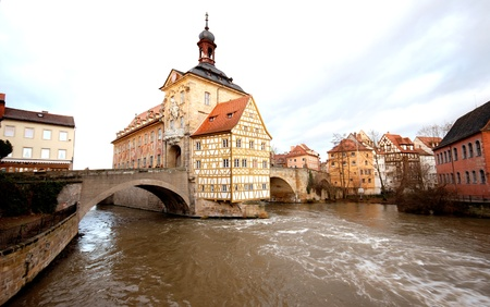 showplace: The Old Town Hall (1386) of Bamberg(Germany) was built in the middle of the Regnitz river, accessible by two bridges