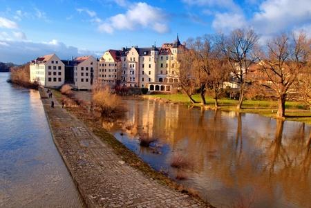 regensburg: Riverside of the Danube river in Regensburg