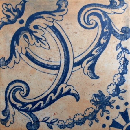 Terracotta tile with blue ornate spanish pattern Stock Photo - 14006321