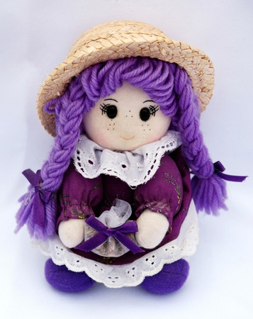 french national doll in violet colors