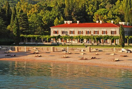 Sea view from luxury beach holiday villa and garden(Italy)
