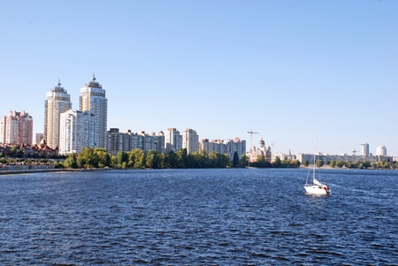 dnepr: Modern residential district Obolon and Dnepr river summer landscape(Kyiv, Ukraine)