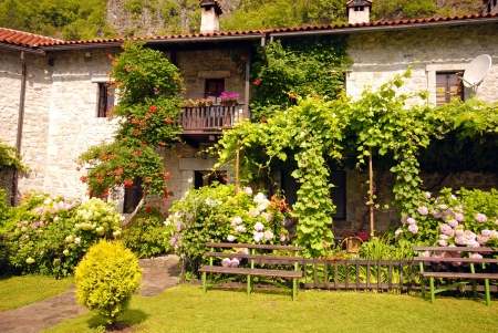 Idyllic stone rural house with blossom flowers in summer pretty cottage garden. photo