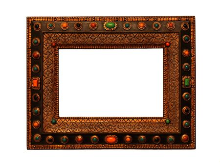vintage wooden ornate picture frame with gems on white background