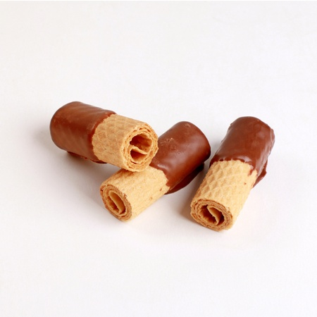 wafer rolls with chocolate Stock Photo