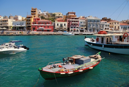 Panorama of Aghios Nikolaos Crete, Greece  photo