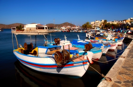 Fishing boats in Elounda (Crete, Greece). Elounda is a small fishing town on the northern coast of the island of Crete, Greece.