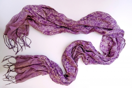 Purple silk scarf with floral pattern