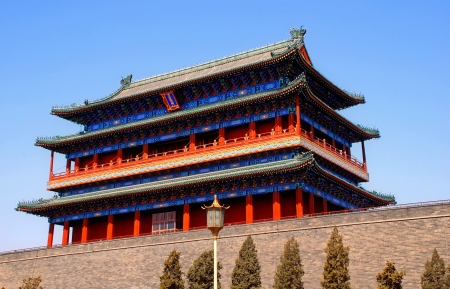 Ancient Qianmen Gate (Zhengyang Men Gate) to Forbidden City,Tiananmen Square (Beijing, China). Qian Men ranks as one of Beijings most famous landmarks.