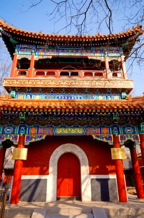 Traditional chinese pavillion with painted facade in Lama Temple(Beijing, China) Stock Photo - 15874288