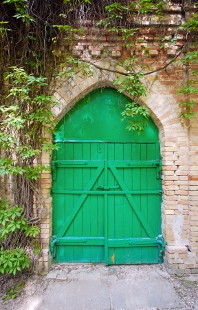 Old green wooden gate in the rural brick wall Stock Photo