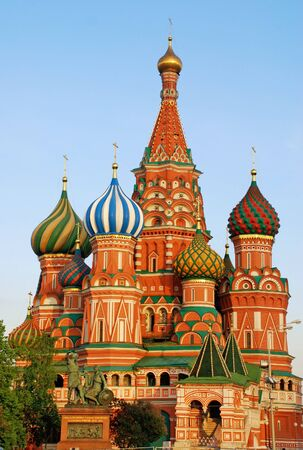 Vertical view of St Basils Cathedral, the famous and iconic cathedral on Red Square in Moscow ( Russia) in twilight photo
