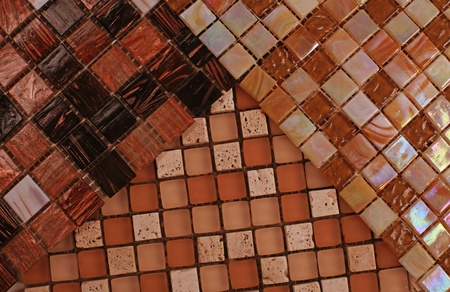 Three samples of mix shiny glass mosaic in brown and beige colors Stock Photo - 16432520