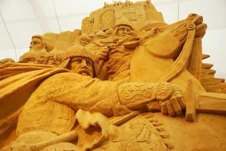 mongols: MOSCOW, RUSSIA - MAY 12: Sand sculpture of russian prince and warrior Aleksandr Nevskiy battle with Mongols. Exhibition dedicated to Russian history in Exhibition Center on May 12, 2011 in Moscow, Russia . Editorial