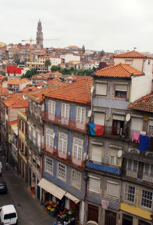 barrel tile: City view of narrow street and old colourful buildings, Porto,Portugal Stock Photo