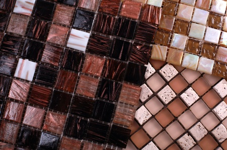 Three samples of mix shiny glass mosaic in brown and beige colors Stock Photo - 17000849
