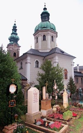 churchyard: Saint Peter s Abbey Church and old cemetery in Salzburg, Austria Stock Photo