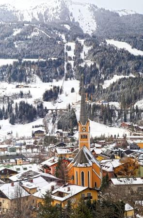 tauern: Winter landscape with ski resort village Bad Hofgastein in the Austrian Alps. Vertical image Stock Photo