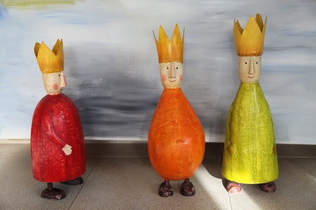 three objects: Toy colorful Figurines of three Kings(three wise men) Stock Photo