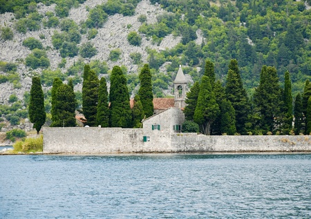 Beautiful landscape with mediterranean medieval building, Perast, Kotor bay, Montenegro. photo