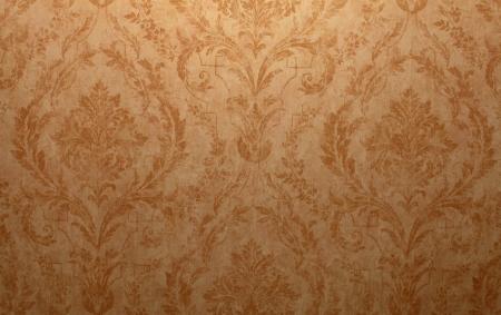 Vintage golden run-down victorian wallpaper with baroque vignette Stock Photo - 18393374