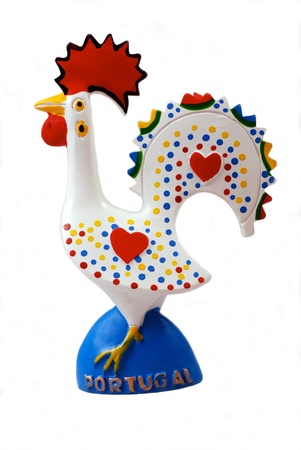 roster: Portugal symbol - multicolored ceramic rooster on white background