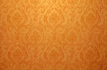 Vintage golden run-down victorian wallpaper with baroque vignette photo
