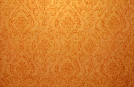Vintage golden run-down victorian wallpaper with baroque vignette Stock Photo - 18723381