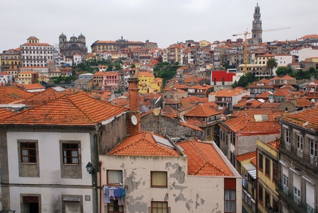 barrel tile: Red roofs of old buildings in Ribeira, the Old Town of Porto, Portugal.