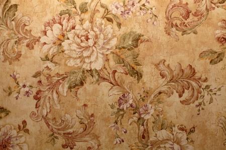 バロック様式の花模様のビンテージ ゴールデン荒廃したビクトリア朝壁紙 写真素材