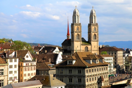grossmunster cathedral: Zurich cityscape with old buildings and the Grossmunster cathedral , Switzerland