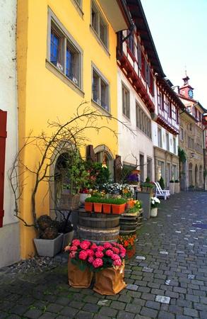 Flower shop on the old town street (Switzerland). photo