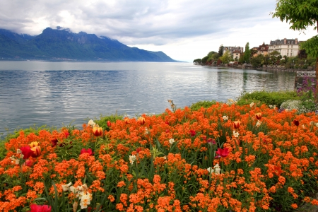 A beautiful spring landscape with flowers and Lake Geneva in Montreux, Switzerland  photo