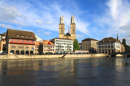 Zurich cityscape with Grossmunster and river Limmat, Switzerland   Afternoon light photo