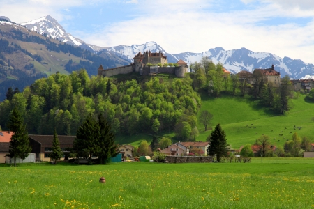 Beautiful landscape with Gruyere Castle, fields and Alps Mountains in the background, Switzerland