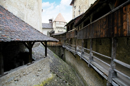 chillon: The Chillon Castle  Chateau de Chillon ,Montreux,Geneva lake, Switzerland  The oldest written document mentioning the castle dates from 1150  Editorial