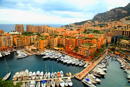 Panoramic landscape with harbor, lots of yachts in famous Monte Carlo, Cote d photo