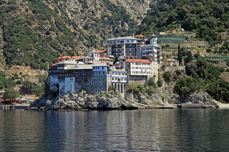 The Monastery of Gregoriou is built on a beautiful location at the south-west side of Mount Athos,Halkidiki, Greece and is dedicated to Saint Nicholas. The monastery was founded in the 14th century.