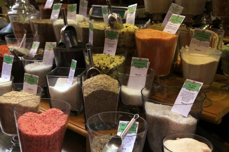 homemade herbal salt in french market stall, Provence, France photo