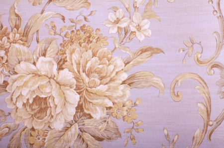 Vintage grey wallpaper with beige floral victorian pattern photo