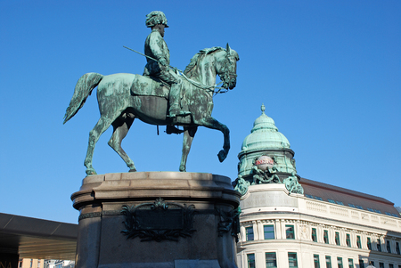 albrecht: VIENNA, AUSTRIA-OCTOBER 17: Famous statue of Archduke Albrecht Habsburg near the entrance to the Albertina museum in Vienna, Austria at October 17, 2008.