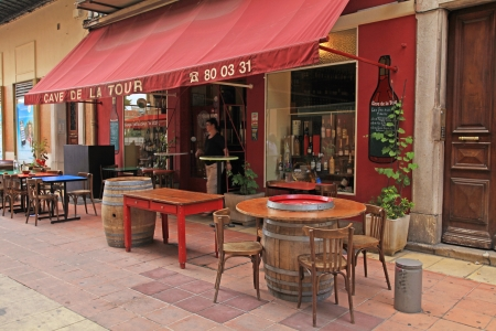 NICE, FRANCE - MAY 14: Outdoor french traditional outdoor cafe in Old Town of Nice, France at May 13, 2014.