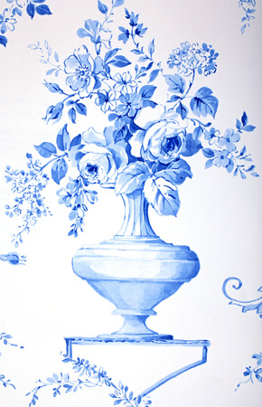 blue and white french baroque floral pattern with vase